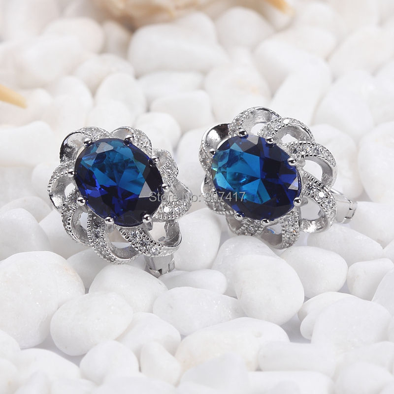Jewelry & Accessories Eulonvan Sumptuous Dark Blue Cubic Zirconia Beautiful S 925 Sterling Silver Trendy Earrings Vintage Jewelry For Women S--3702 Pure White And Translucent