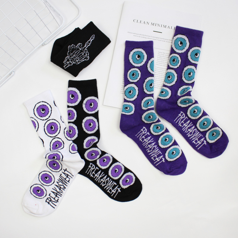 Funny Socks Japanese Harajuku Street Letters Purple Eyeballs Tide Brand Men And Women Stocks Spring And Autumn Winter Socks