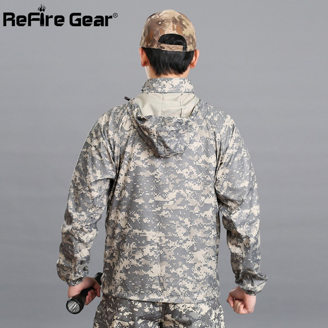 Summer Tactical Navy Seal Lightweight Camouflage Jacket Men Waterproof Thin Hood Raincoat Windbreaker Military Army Skin Jackets