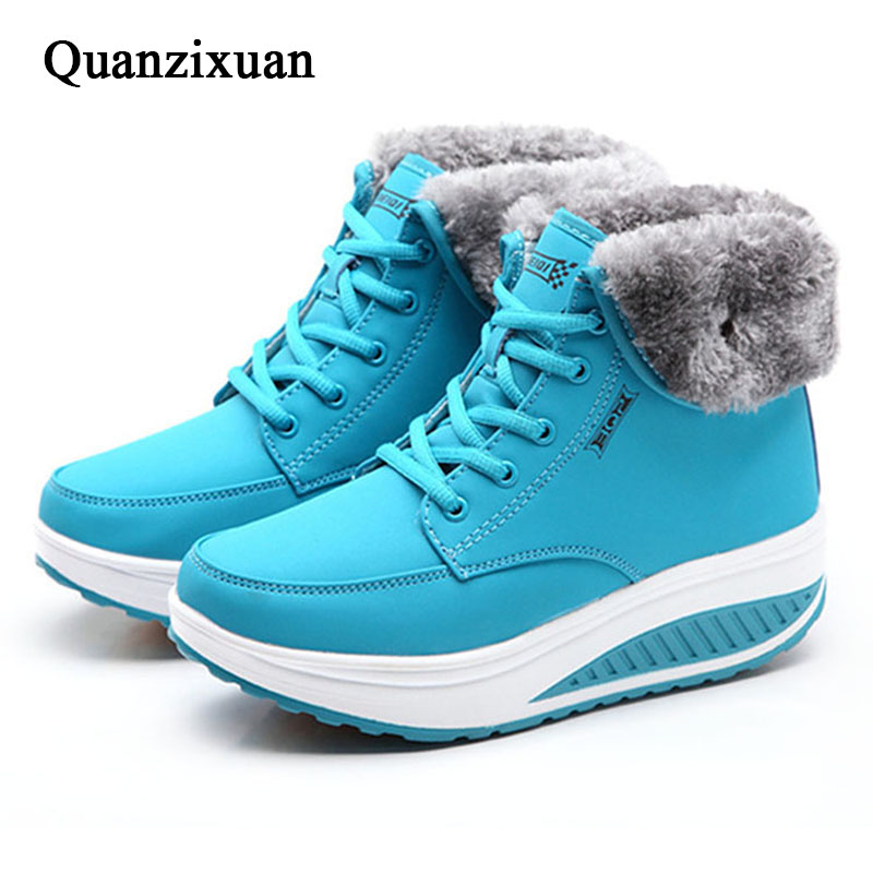 Women Boots Winter Female Plus Velvet Swing Shoes Snow Platform Boots Women Thermal Cotton-padded Shoes Flat Ankle Boots