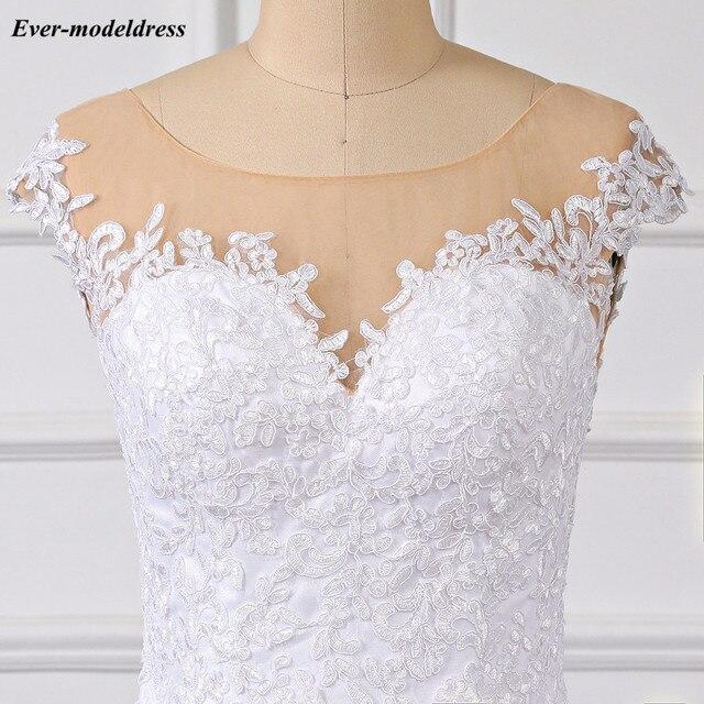 кружевное свадебное платье принцессы 2019 бальное с иллюзией фотография