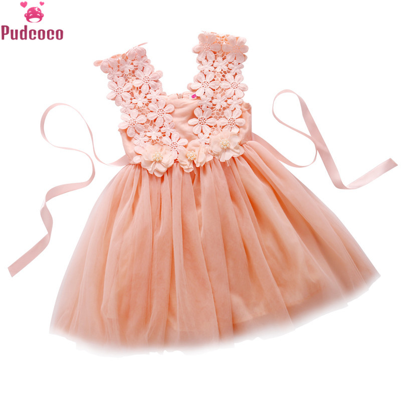 Cute Baby Girl Summer Dress Lace Tulle Flower Gown Fancy Party Bridesmaid Dress Sundress Little Girls Dress Clothes