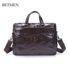 BETMEN Designer Brand Handbags High Quality Genuine Leather Bag Luxury Men Briefcase Laptop Shoulder Messenger Bags