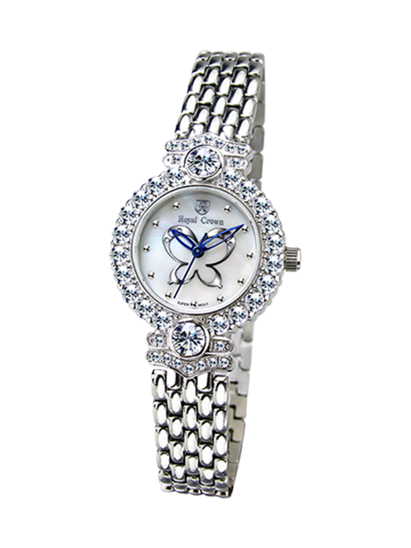 Royal Crown Jewelry Watch 3844S Italy brand Diamond Japan MIYOTA platinum Fashion Bracelet Butterfly Shell Luxury Rhinestones royal crown jewelry watch 3850 italy brand diamond japan miyota platinum best fashion dress bracelet shell luxury rhinestones