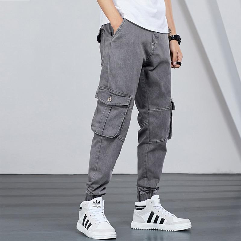Japanese Style Fashion Men Jeans Loose Fit Size 28-42 Big Pocket Cargo Pants Streetwear Slack Bottom Harem Joggers Jeans Men