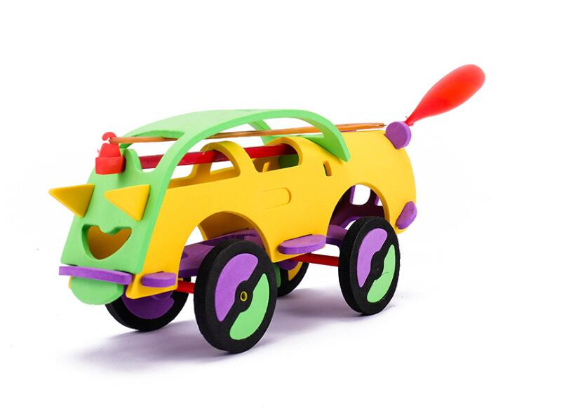 1Set Kid DIY Wooden Dynamic Rubber Band Powered Car Kid Assembled Puzzle Toy