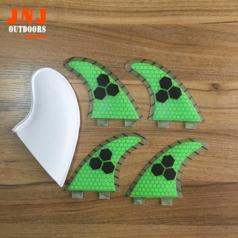 Kostenloser versand grüne farbe surfboard-finne strahlruder FCS flossen G5 M flossen 4 stücke ein satz
