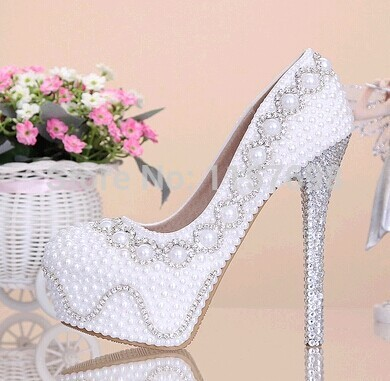 ФОТО Pearl rhinestone bridal shoes white ultra high heels wedding shoes elevator women's platform shoes wedding shoes thin heels