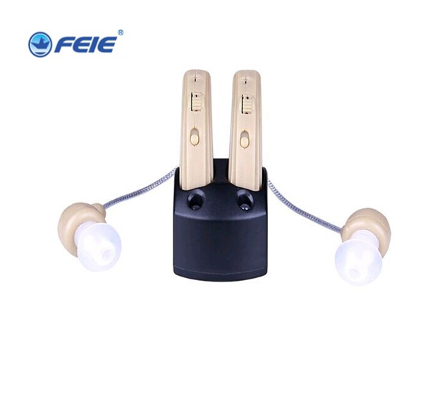 Free shipping listener for deaf DOUBLE ear sound voice amplifier rechargeable BTE hearing aid S-109S open fitting programmable bte hearing aid 7 channels sound hearing amplifier for treatment tinnitus my 26 battery free shipping