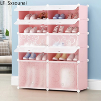 LF Sxsounai two columns pink blue Dust diy resin combination plastic simple shoe cabinet multilayer assembled door shoe cabinet