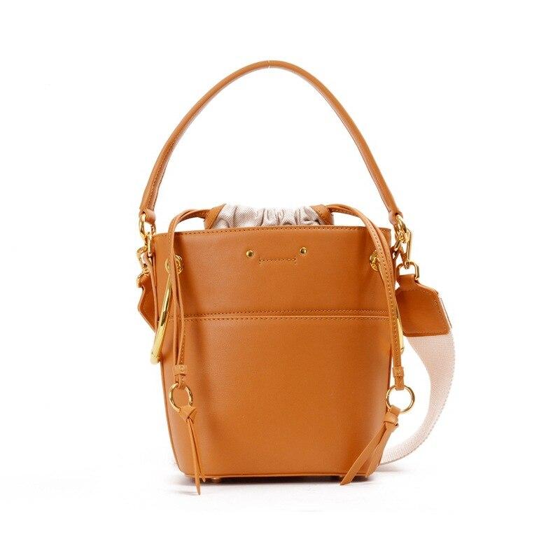 Vintage Ring Bucket Bags For Women 2018 Luxury Handbags Women Bags Designer Leather Messenger Bag String Knit Strap Shoulder Bag