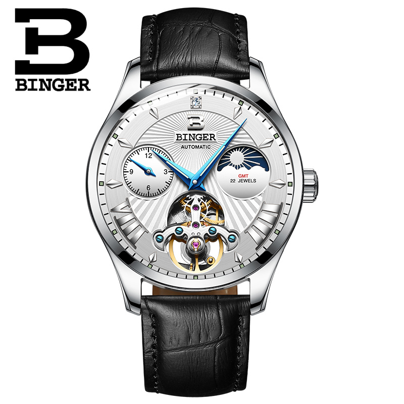Switzerland Mechanical Watch Men Binger Role Luxury Brand Men Watches Skeleton Wrist Sapphire Men Watch Waterproof B-1186-2 wrist switzerland automatic mechanical men watch waterproof mens watches top brand luxury sapphire military reloj hombre b6036