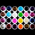 HOT SALE 24 Colors Small / Big Fine Glitter UV Gel Builder False Fake Tips UV Gel Nail Art Polish Kit Set Russian Free Shipping