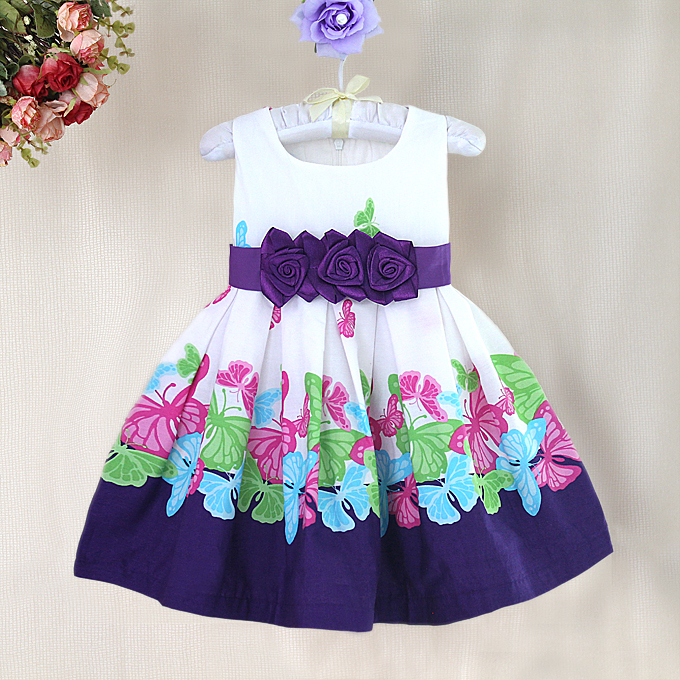 High Quality Butterfly Print Girl Dresses With Flower Bow European Gorgeous Baby Dress Patterns