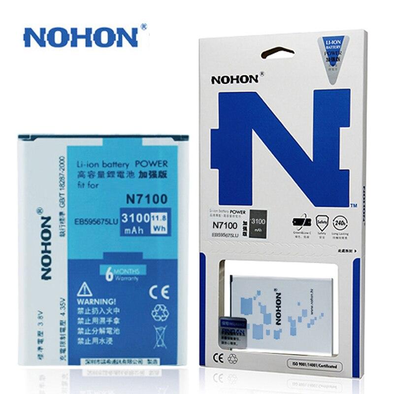imágenes para Originales NOHON EB595675LU Batería Para Samsung Galaxy Note N7100 Nota 2 N719 N7102 E250S E250L 3100 mAh Batarya Paquete Al Por Menor