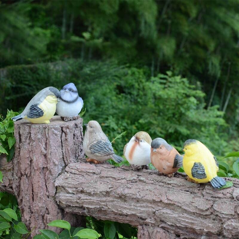 Ornements de jardin créatifs décorations d'extérieur décoration de jardinage oiseaux statue simulation résine artisanat oiseau figurine, 6 styles/ensemble