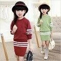Blusas + saia 2 peças de roupas definir o tamanho 8 9 10 anos de idade outono inverno moda roupa dos miúdos