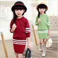 sweaters +skirt 2 pieces clothing set size 8 9 10 years old autumn winter fashion kids clothes
