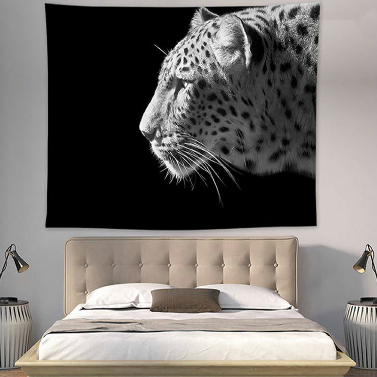 Image 5 - Boho Bohemian Mandala Tapestry Wall Hanging Lion Tigers Beach Mat Animal Party Decoration Black Background Photography Backdrop-in Tapestry from Home & Garden