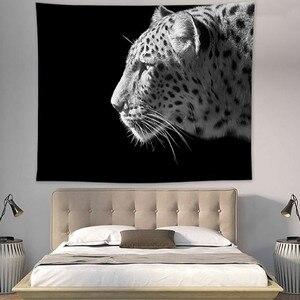 Image 5 - Tapiz bohemio de Mandala para colgar en la pared alfombra de playa de tigres de León, decoración de fiesta de animales, fondo negro, Fondo de fotografía