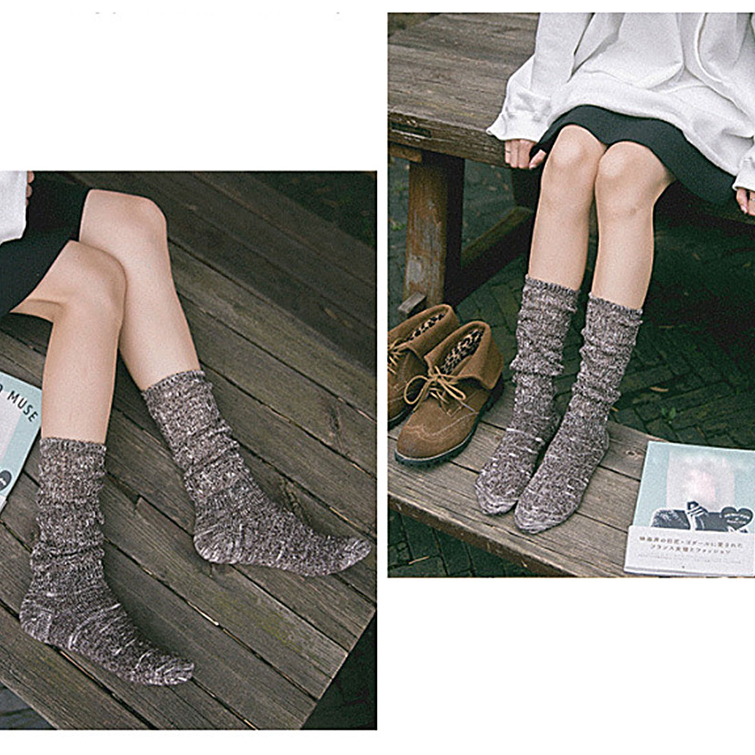 Top Sell Cotton Autumn Winter Thick Knitted Thermal Pure Color Ladies Women Brand Long Harajuku Loose Boot Socks