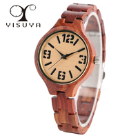 Creative Trendy Red Sandalwood Wrist Watch Ladies Fashion Full Wood Wooden Bracelet Watches Women Girl Gift