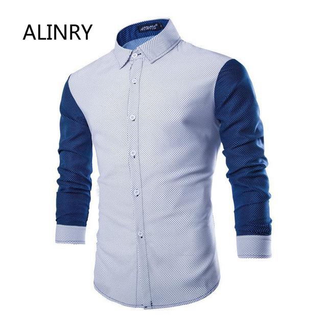 2017 Nueva alta calidad de la camisa de terciopelo de algodón 2 colores de los hombres cozy camisa de manga larga da vuelta abajo del modelo de punto de la manera camisa de los hombres