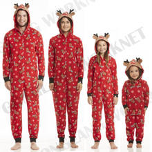 family matching christmas pajamas romper jumpsuit women men baby kids red print xmas sleepwear nightwear hooded zipper outfits - Cheap Family Christmas Pajamas