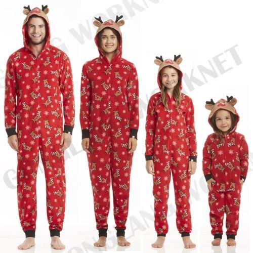 Pijama de Navidad familiar a juego mono de mujer hombres bebé niños rojo impresión Navidad ropa de dormir con capucha cremallera trajes