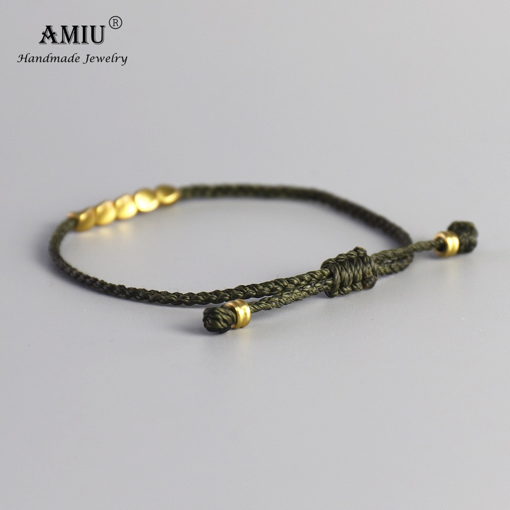 AMIU Handmade Tibetan Copper Bead Lucky Green Rope Bracelet & Bangles For Women Men Wax Cord Thread Bracelets