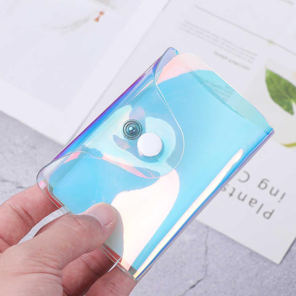 Hologram 20 Bit Transparan Pemegang Kartu Kredit Kartu Wanita Case Organizer Dompet Fashion PVC Paspor Kartu Cover Kartu Tas