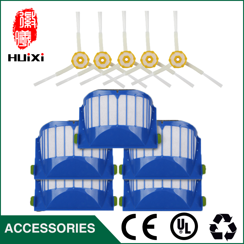 High-efficiency Parts Clean Kit 5pcs Blue Hepa Filter+5pcs Cleaning Side Brush for 528 529 601 620 630 650 Robot Vacuum Cleaner 2 brush 3 side brush 3 hepa filter 1 cleaning cylinder robot vacuum cleaner 610 611 627 620 630 650 replacement parts