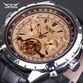 Homens de Luxo Relógio Mecânico JARAGAR Relógio Automático Tourbillon Calendário Dia Semana Ano Couro Relogio masculino 2016