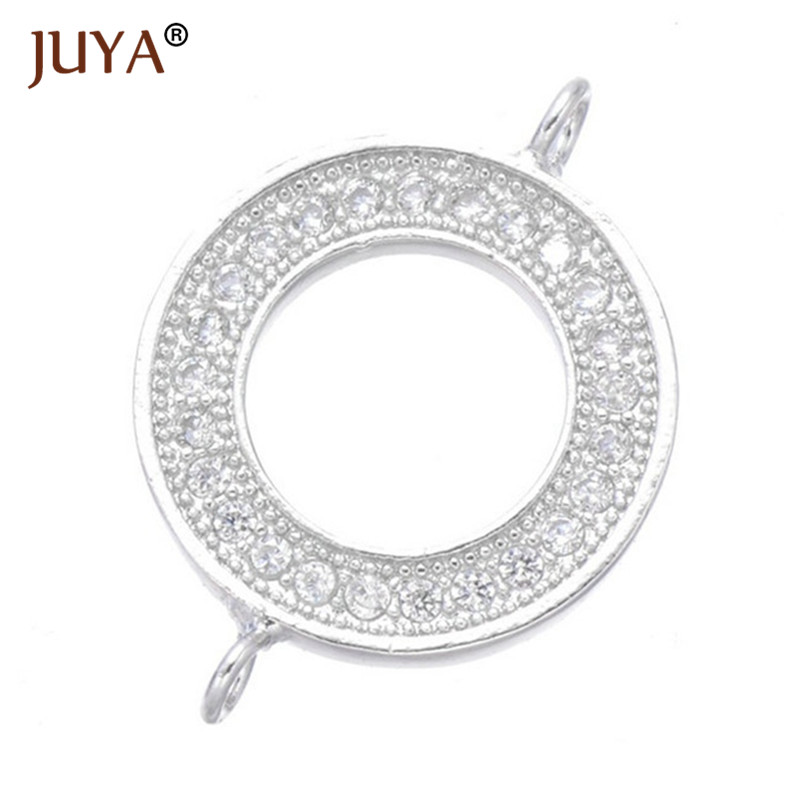 Crystal Rhinestones Circle Karma Infinity Connector DIY Bracelet Earrings Findings Loop Round Connectors For Jewelry Making 4pcs