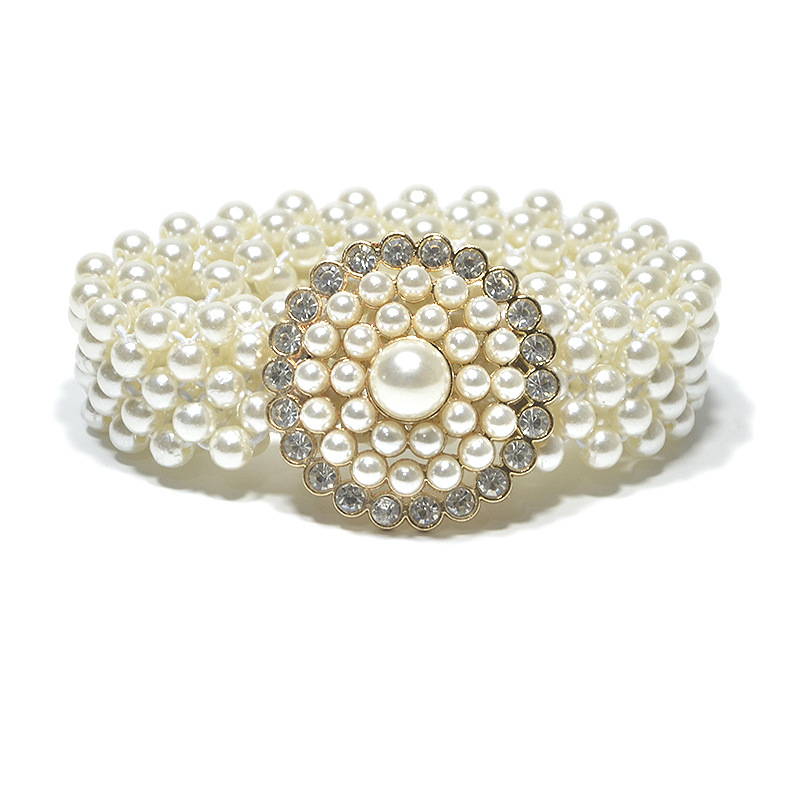 Womens Wide Elastic Waist Belt with Pearl Beaded Bow