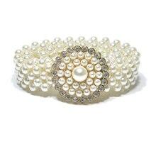 2018 nuevas señoras de lujo Rhinestone cristal blanco simulado perla  femenina mujeres anchas elásticos del estiramiento 9a21230cc04f