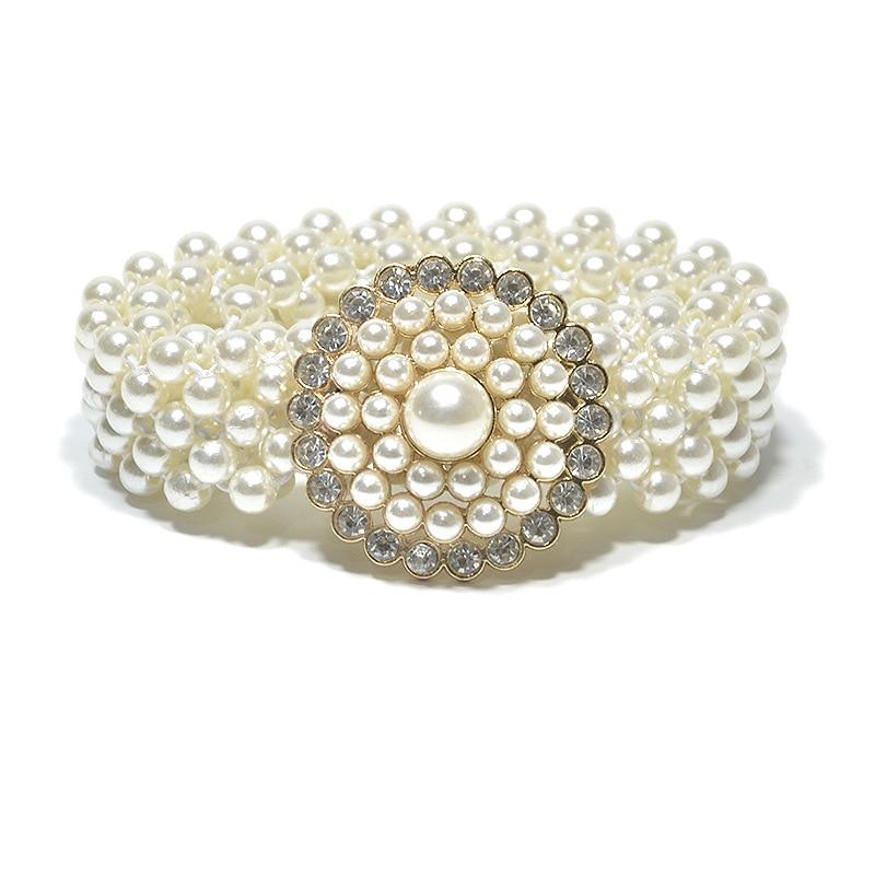 2019 New Luxury Ladies Rhinestone Crystal White Simulated Pearl   Belt   Female Womens Wide Elastic Stretch   Belts   for Women Dress