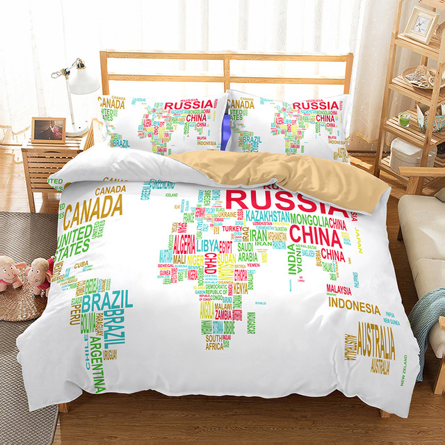 High Quality Nordic Style Bed Quilt Cover Duvet Funda Nordica World Map Bedding King Size Set Queen 7z