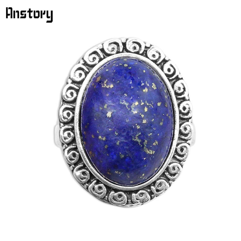 Oval Lapis Lazuli Rings Vintage Natural Stone Rings s