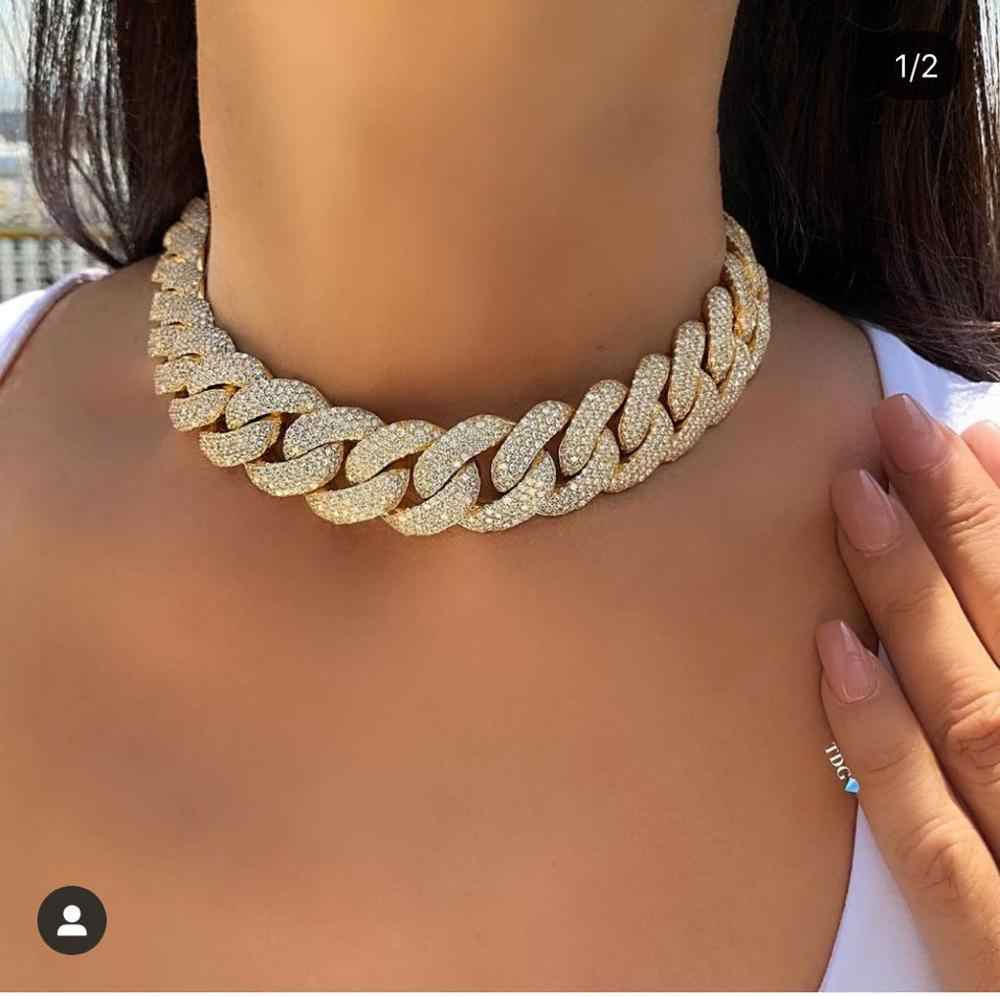 janeklly   big white gold-color Statement Cuban Link Chain Choker Necklace adjust Women Wedding Bijoux Wholesale free shipping