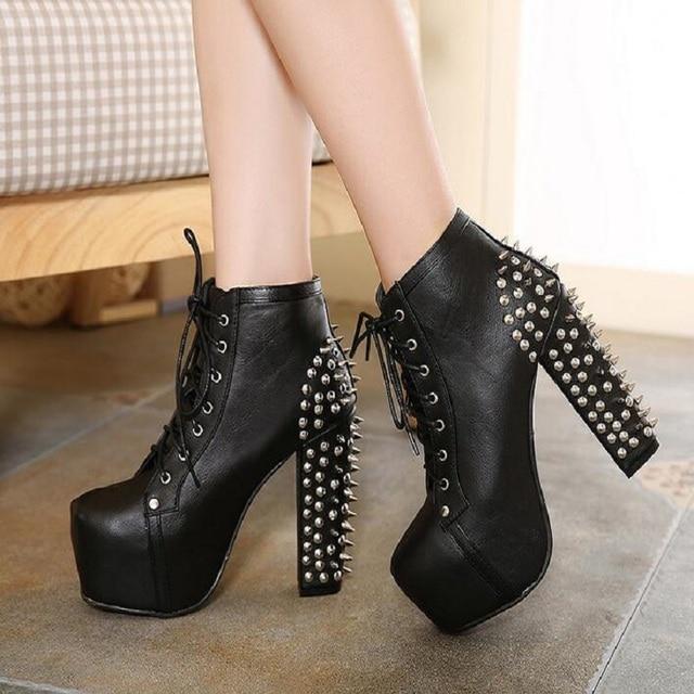 e129f44f1597 boots women Winter Women Black High Heel Martin Ankle Boots Buckle Gothic  Punk Motorcycle Combat rivet Boots Shoes Platform