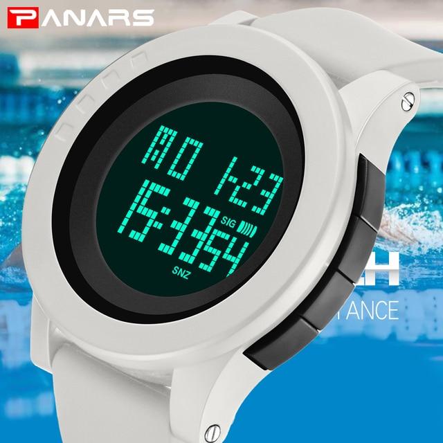 4bf1ddad358e PANARS blanco hombres Digital relojes hombre multifunción cronómetro 12  reloj de 24 horas 50 m