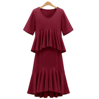 European 2017 Spring New Style Falbala Short Sleeve Women S Clothing Plus Size Long Basic Dress