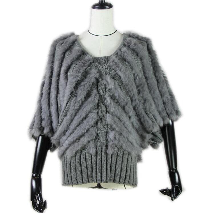 2019 Top quality Women Real Fur coat Genuine Rabbit Fur Knitted Gilet Fur Vest Lady Winter