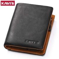 KAVIS Brand 100 Genuine Leather Wallet Men Coin Purse Male Cuzdan Slim Walet Portomonee Small PORTFOLIO