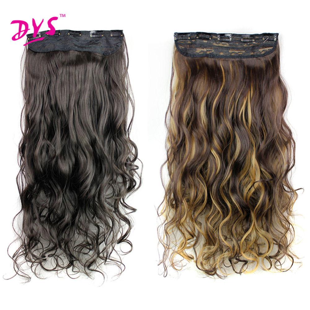 Deyngs 5 Clips in Hair Extensions One Piece Long Wavy Synthetic High Temperature False Hair Hairpieces for Women 24Inch (4)
