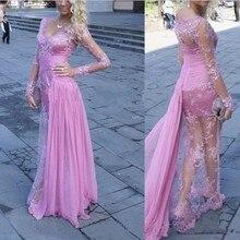 Hot Sexy Rosa Spitze Abendkleid 2016 Durchsichtig Long Sleeve Formale Abend-kleid Perlen Robe De Soiree