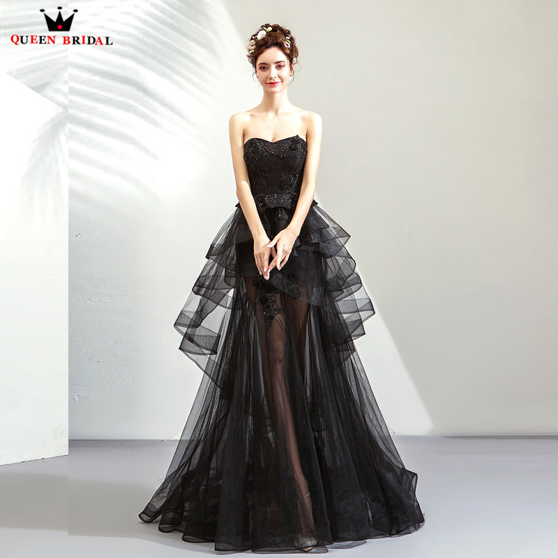 Black Elegant   Evening     Dresses   2019 Fashion A-line Sweetheart Ruffle Tulle Lace Formal Party Gowns   Dress     Evening   Gown CS118