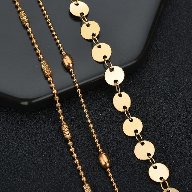 GUVIVI Round Beaded Bohemian Anklet For Women Accessories Gold Layers Leaf Barefoot Sandals Foot Leg Bracelet Jewelry Gift