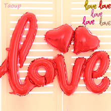 TAOUP Rose Gold Love Letter Balloons Air Figures Valentines Day Happy Birthday Foil Wedding Round Accessories